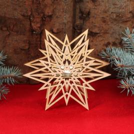 Stern Teelichthalter - Dekoration aus Holz für Weihnachten
