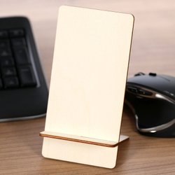 Design phone holder Wooden and acrylic glass stand optionally with engraving