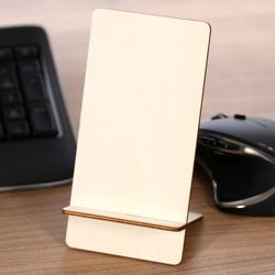 Design Handyhalter Ständer aus Holz und Acrylglas optional mit Gravur – Bild 1