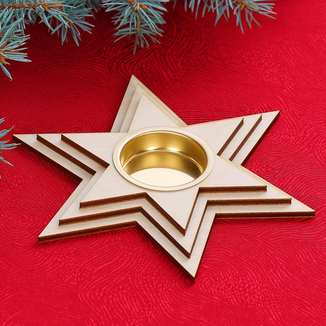 Kerzenhalter Weihnachten.Motiv Teelichthalter Kerzenhalter Dekoration Aus Holz Für Weihnachten