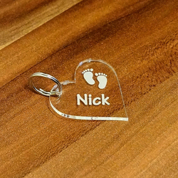 Acrylic glass baby label, paw, individually engraved, name tags, keychains in various shapes to choose from