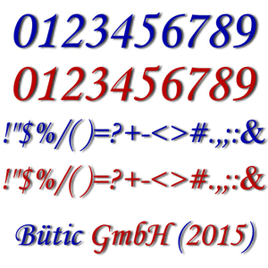 Plexiglas Zahlen dunkelblau und rot - MT - inkl. Satz- und Sonderzeichen - 3mm Acrylglas - Größenauswahl