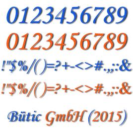 Plexiglas® Zahlen hellblau/orange - MT - Satz- und Sonderzeichen - 3mm Acrylglas