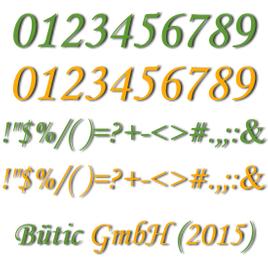 Plexiglas® Zahlen grün/gelb - MT - Satz- und Sonderzeichen - 3mm Acrylglas