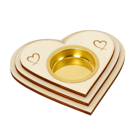 Herz Teelichthalter -Liebe- Dekoration aus Holz - optional mit Wunschname