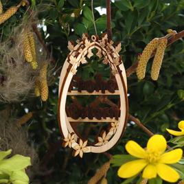 Osterschmuck 3D Ostereier Baum- und Strauchbehang - Deko aus Holz für Ostern