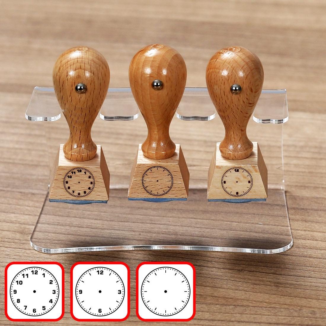Bütic 3er Set Lehrer- Holzstempel - Schulstempel mit Acrylhalter Ständer - Designs auswählbar
