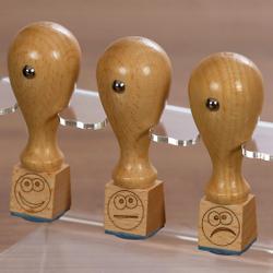 Bütic 3er Set Lehrer- Holzstempel - Schulstempel mit Acrylhalter Ständer - Designs auswählbar – Bild 2