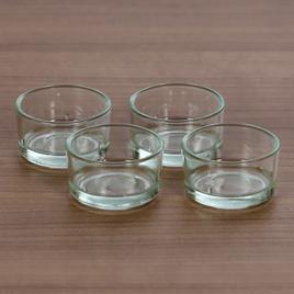 klare Teelichtgläser flach für 40mm Standard Teelichter Glas Teelichthalter