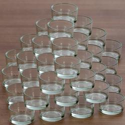 klare Teelichtgläser flach für 40mm Standard Teelichter Glas Teelichthalter – Bild 5