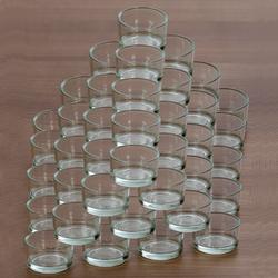 klare Teelichtgläser flach für 40mm Standard Teelichter Glas Teelichthalter – Bild 6