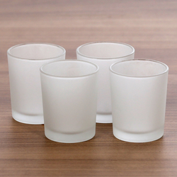 Tealight holder, high tealight glasses frosted, 40mm - Tealight glass, windlight for standard tealight candles