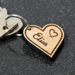 Organic real wood Love pendant, individually engraved, Bio keychains in different shapes to choose from