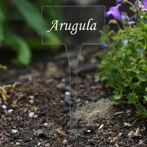 Acrylic plant signs square colorless - weatherproof and elegant, herbs signs, plant plugs - many plant names or own text