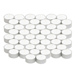 Pack of 50 organic tea lights - white soot-free Stearin tea light from 100% vegetable stearin