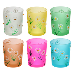 Margeriten glasses -  sets of 6 high tealight glasses, votive glasses - for 40mm tealights and pillar candles