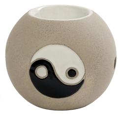Windlicht, Duftstövchen, Aromalampe, Duftlampe aus Keramik Ying Yang in beige