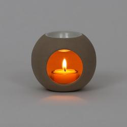 Windlicht, Duftstövchen, Aromalampe, Duftlampe aus Keramik Ying Yang in beige  – Bild 3