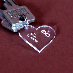 Acrylic glass infinity pendant, individually engraved, key chain in various shapes to choose from
