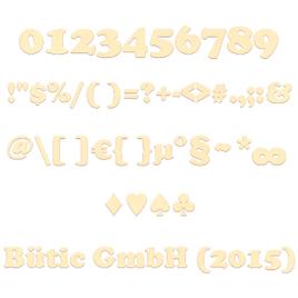 Sperrholz Zahlen - Cooper - inkl. Satz- und Sonderzeichen Größenauswahl - Pappel 3mm