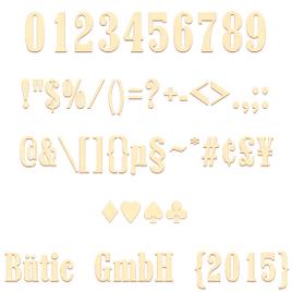 Sperrholz Zahlen - Western/Marlboro - inkl. Satz- und Sonderzeichen Größenauswahl - Pappel 3mm