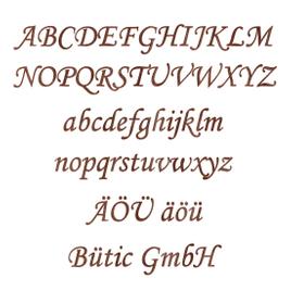Holz-Furnier Buchstaben - MT - Schriftzug aus dunklem 0,6mm Echtholzfurnier - Größenauswahl