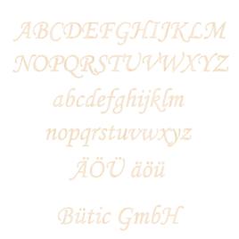 Holz-Furnier Buchstaben - MT - Schriftzug aus hellem 0,6mm Echtholzfurnier - Größenauswahl