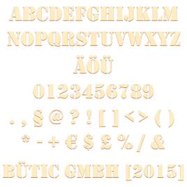 Sperrholz Buchstaben/Zahlen - Stencil - Schriftzug + Sonderzeichen - Pappel 3mm