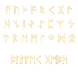 Sperrholz Runen - Ältere Futhark - Wunschtext/Schriftzug mit Größenauswahl - Pappel 3mm 001