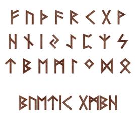 Holz-Furnier Runen - Ältere Futhark - Schriftzug aus dunklem 0,6mm Echtholzfurnier - Größenauswahl
