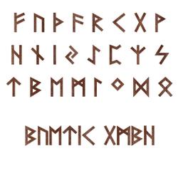 Holz-Furnier Runen - Ältere Futhark - Schriftzug aus dunklem 0,6mm Echtholzfurnier - Größenauswahl 001