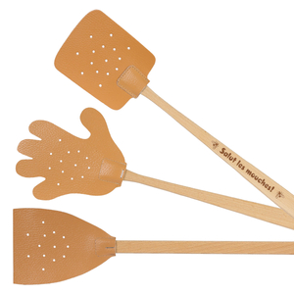 Bütic Leder-Fliegenklatsche Fliegenkiller mit Holzstiel in diversen Ausführungen