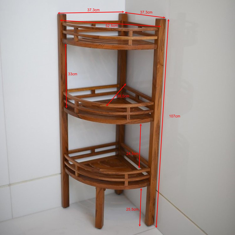 Badezimmer Eckregal aus massiven Teakholz 16 x 16 x 16cm IT-250166