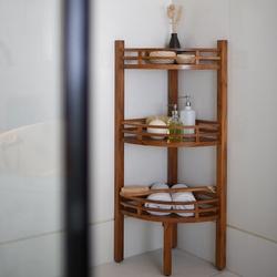 Badezimmer Eckregal aus massiven Teakholz 107 x 37 x 37cm – Bild 1