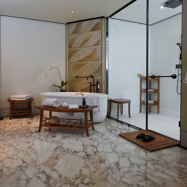 Badezimmer Duschmatte - Fußmatte aus massiven Teakholz 11 x 11cm IT-11