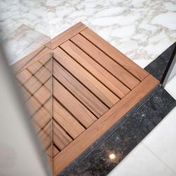 Badezimmer Duschmatte - Fußmatte aus massiven Teakholz 76 x 61cm – Bild 3