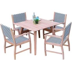 Garten Esstischgruppe Abbey - 1 Tisch + 4 Stühle - Mahagoni/Rattan 001