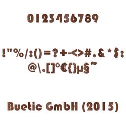 Holz Zahlen aus dunklem Echtholzfurnier - Bauhaus93 - inkl. Satz- und Sonderzeichen - Größenauswahl
