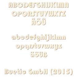 Selbstklebende Holz Buchstaben - Bauhaus93 - Wunschtext/Schriftzug mit Größenauswahl