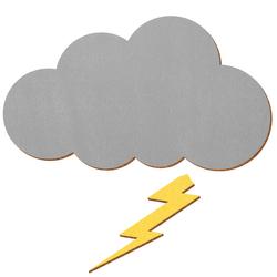 Graue Holz Wolke mit gelben Blitz 5-50cm - Deko Wanddeko Basteln – Bild 3