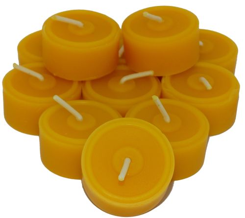 12 St. Teelichter aus reinem Bienenwachs, handgemacht und 1 Glasschale für Teelichter