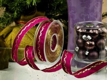 1m Geschenkband 25mm mit Draht (Brillant) – Bild 5