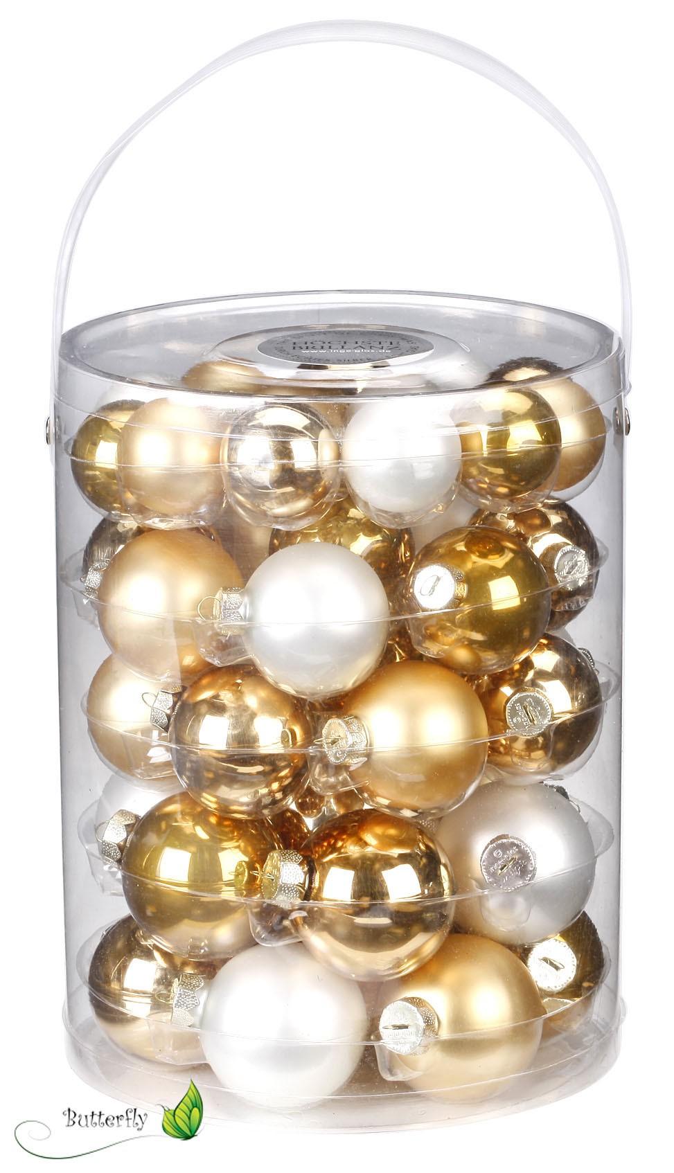 Christbaumkugeln Weiß Gold.60 Christbaumkugeln Glas 4 7cm