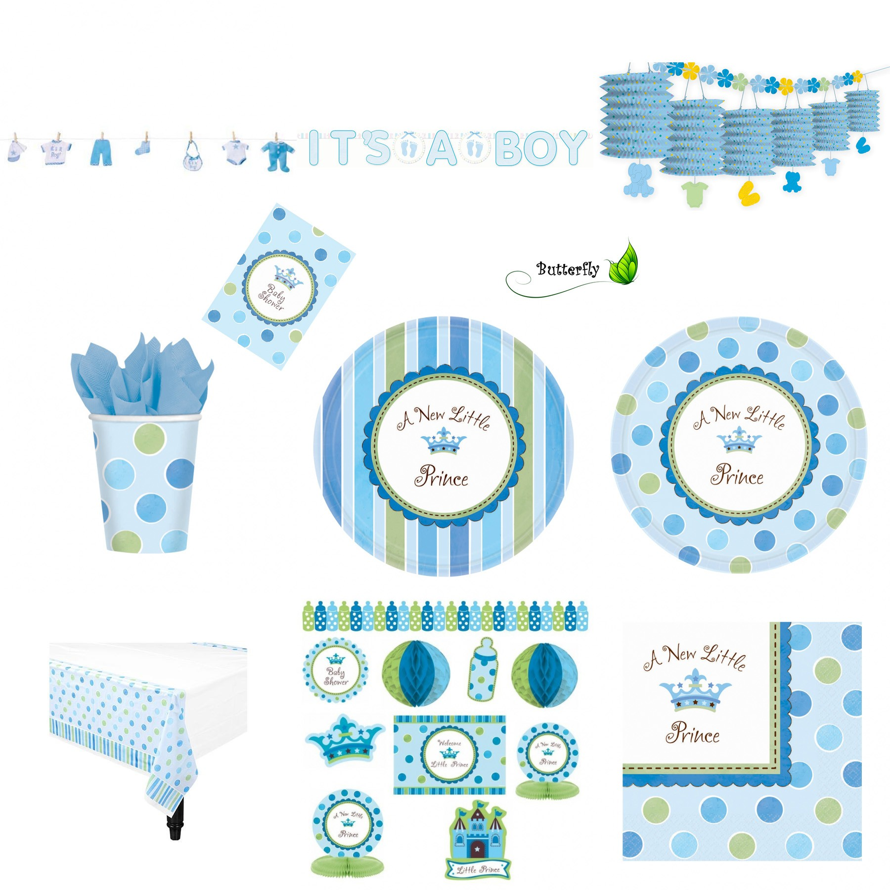 baby shower party set junge event party geburt taufe. Black Bedroom Furniture Sets. Home Design Ideas