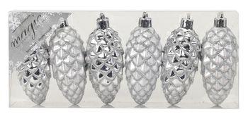 6 Weihnachtskugeln Kunststoff 9cm Zapfen – Bild 4