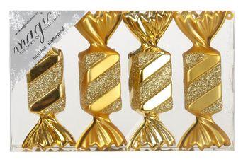4 Christbaumkugeln Kunststoff 10cm Bonbons – Bild 3