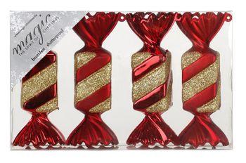 4 Christbaumkugeln Kunststoff 10cm Bonbons – Bild 2