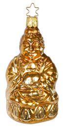 Christbaumkugel golder Buddha 10,5cm INGE-Glas® mit Sternkrönchen