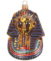 Christbaumkugel Figur Goldmaske des Königs Tutanchamun