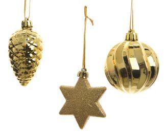 3er Set Weihnachtskugeln 6cm , Stern und Zapfe – Bild 4